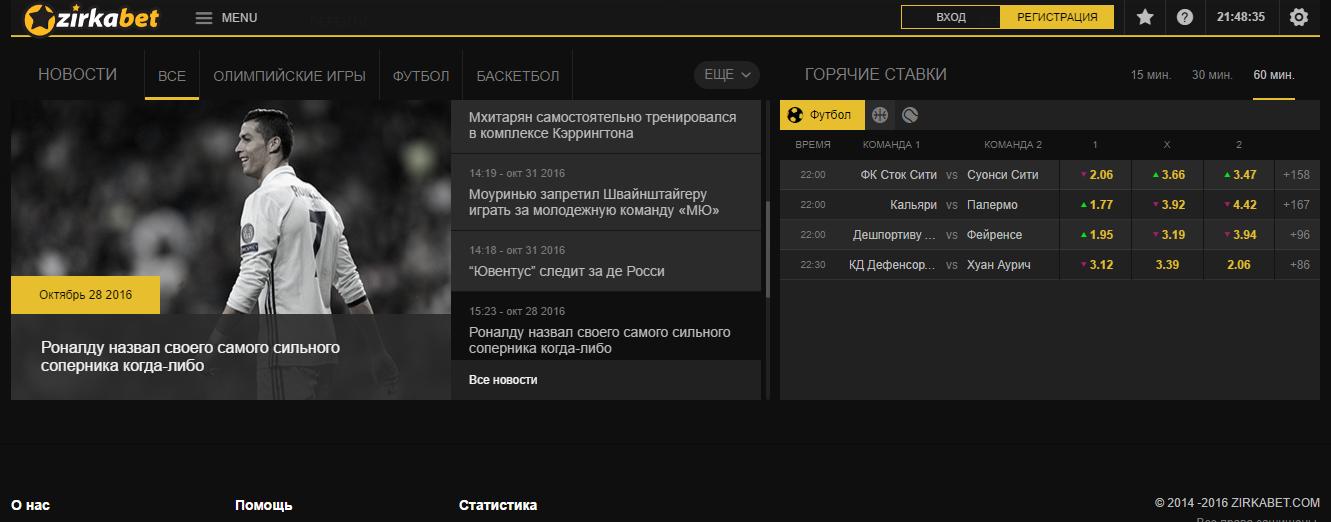 Обзор сайта БК Zirkabet